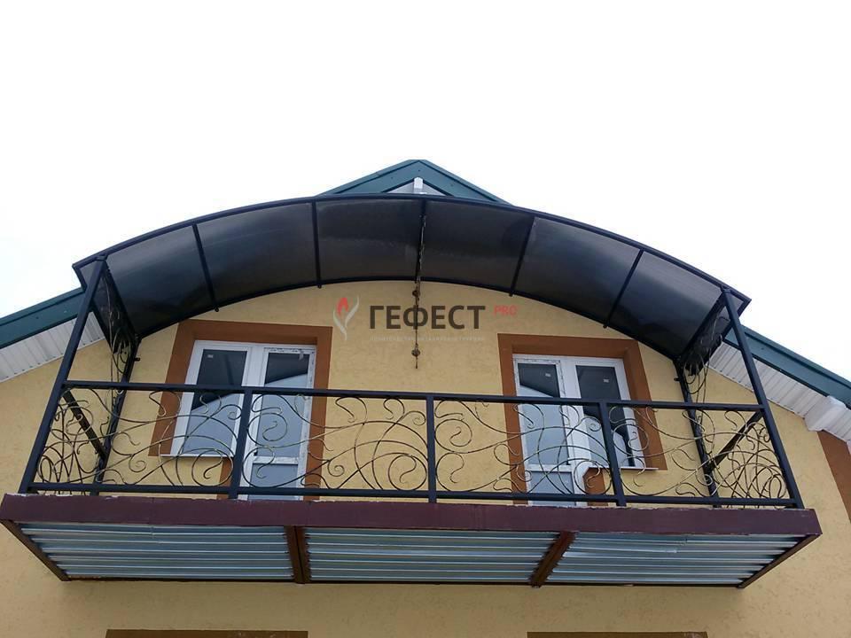 """Купить козырек с ковкой над балконом. - """"гефест-про"""".."""